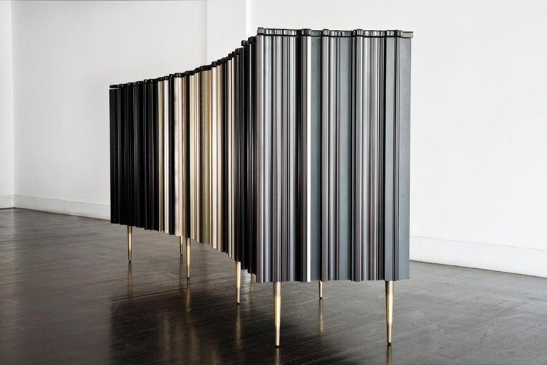 American Contemporary Satin Silver and Darkened Wood Curved Sideboard by Luis Pons For Sale