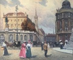 Modernist scene in Paris oil on canvas painting urbanscape