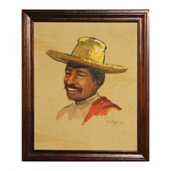 Abstract Spanish Yellow, Brown, and Red Portrait of a Man in Sombrero Painting
