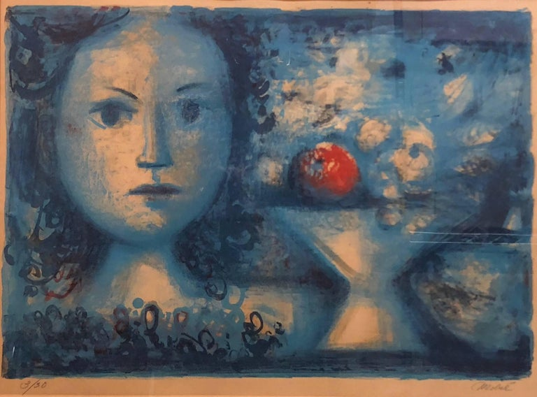 Spanish Catalan Surrealist Lithograph Portrait Girl with Fruit Still Life  - Beige Figurative Print by Luis Vidal Molné
