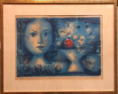 Spanish Catalan Surrealist Lithograph Portrait Girl with Fruit Still Life