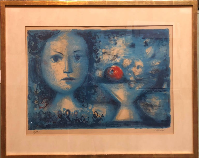 Luis Vidal Molné Figurative Print - Spanish Catalan Surrealist Lithograph Portrait Girl with Fruit Still Life