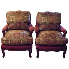 Luis XV Style Pink Upholstered Walnut French Luis XV Armchairs, 1980s