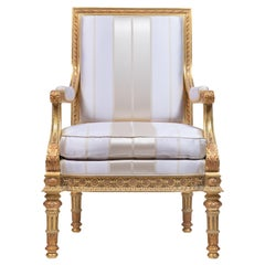 Luis XVI Armchair, Wood Frame Hand Carved, Gold Leaf Finishing, Made in Italy