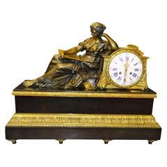 Louis XVI French Mantel Clock Tableclock, Balthazar París, Bronce, Marble