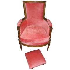 Luis xvi French Walnut Wood and Pink Velvet Bergere Chair, circa 1790