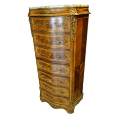 Luis XVI French Wood with Herringbone Marquetry Work Chiffonier-Secretaire