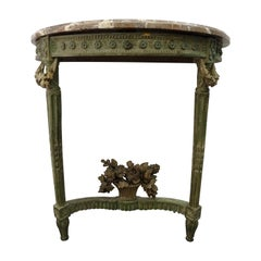 Luis XVI Green French Demilune Floral Carved Wood and Marble Console, 1798