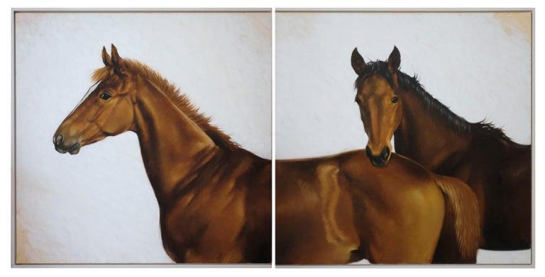 "Luisa Albert Animal Painting - ""Foals""Horses, Thoroughbreds, Oil 220x 110 (two work)"