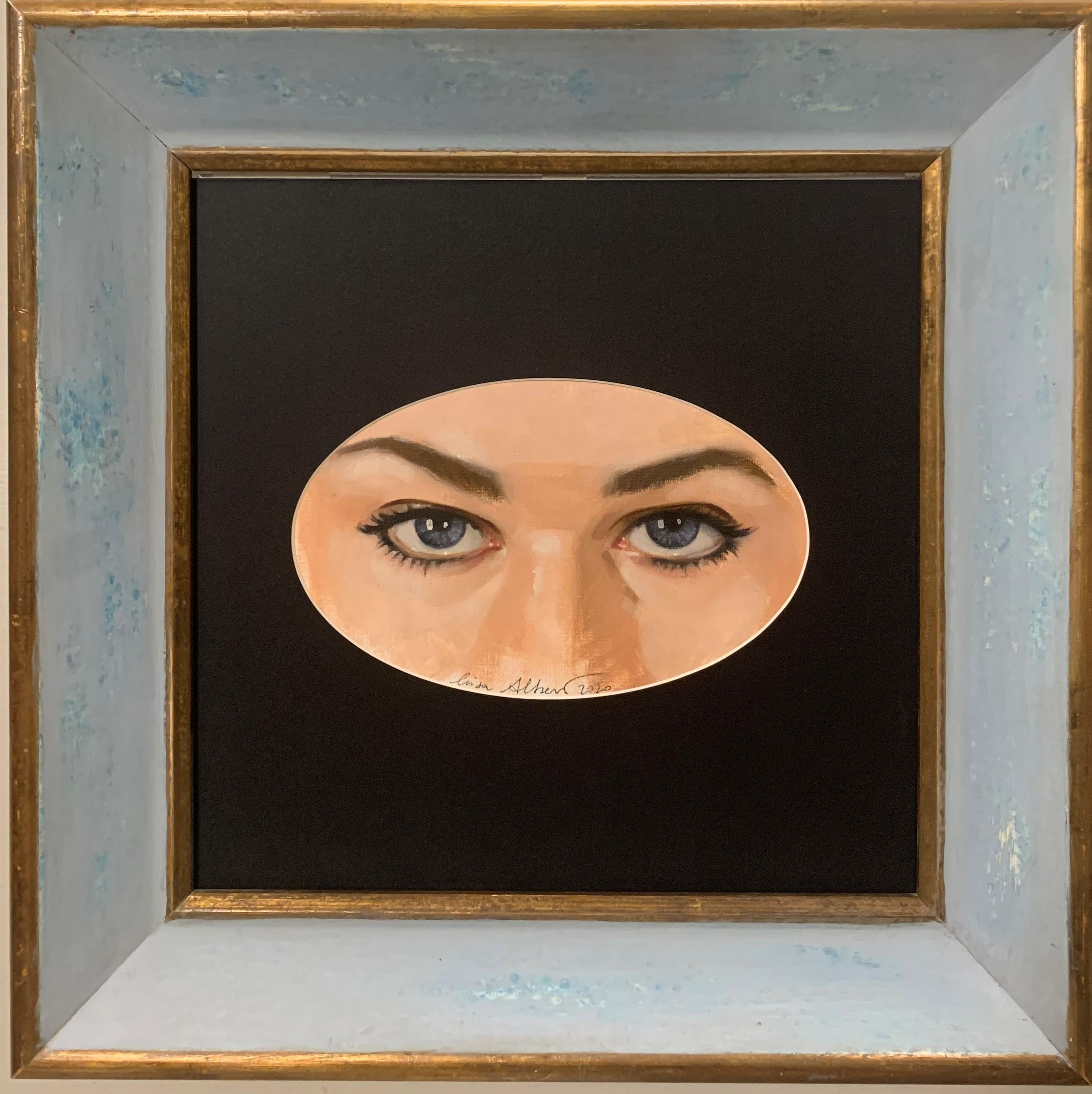 """Girl's eyes"" Blue ,Blue Eyses,Glance,Look, Oil ,only the oval work cm. 21 x 13"
