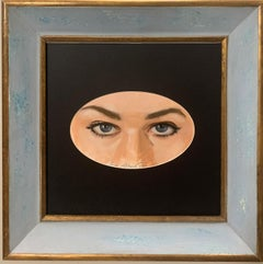"""Girl's eyes"" Blue ,Blue Eyses,Glance,Look, Oil ,only the oval work cm. 21 x 13"