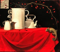 """""""Hide and seek"""" Chameleon , red tablecloth , Butterflies cm. 80 x 70"""