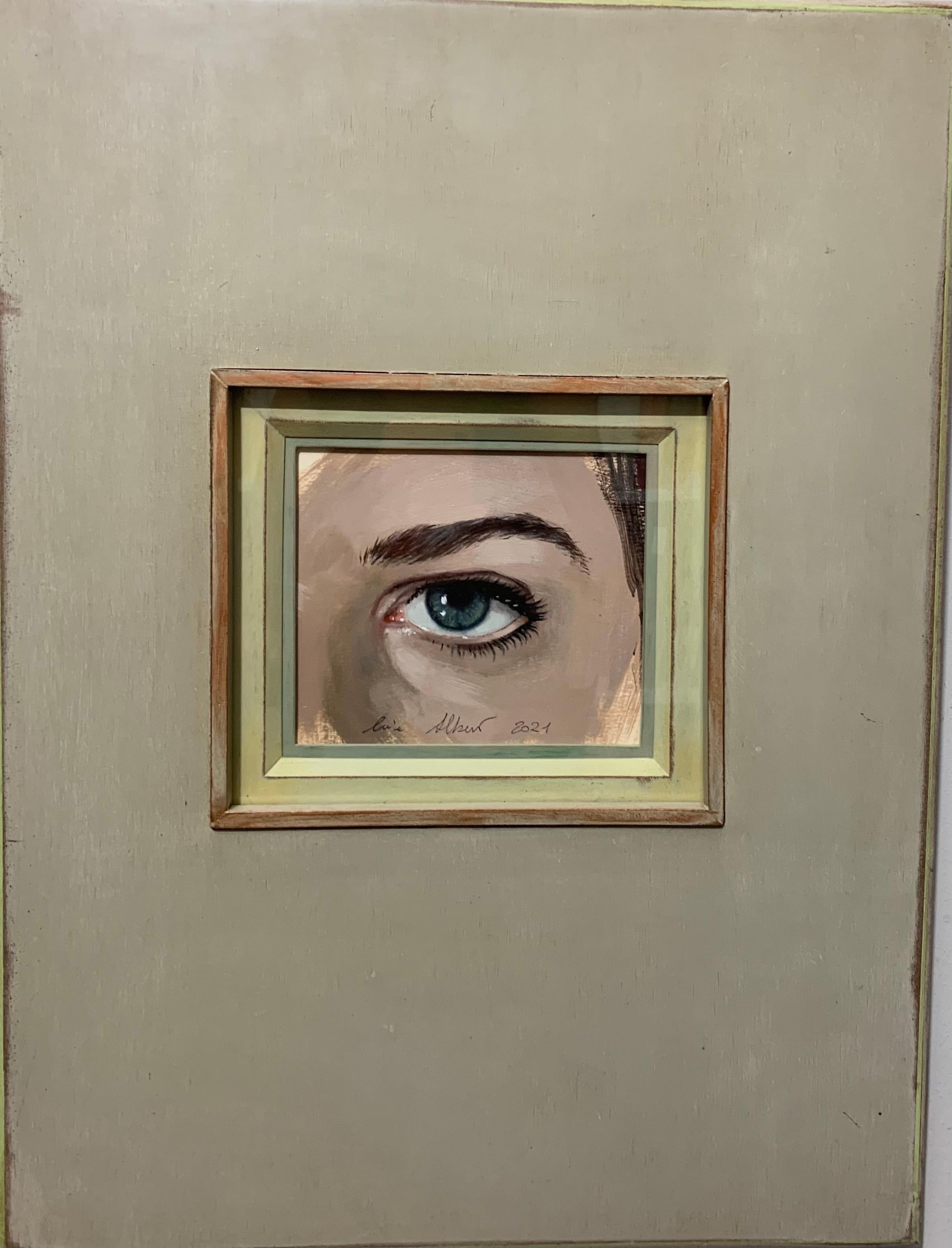 """""""I see you"""" Eye, peephole, look, look at me ,Oil 14 x 10 cm"""