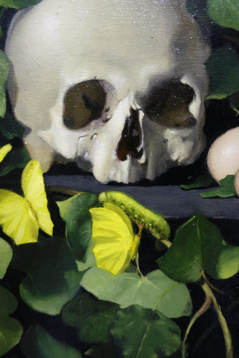 Skull, Butterflies, Caterpillars, Insects, Ivy,Black,Green,Yellow,Memento Mori  Luisa Albert was born in Turin, Italy where she currently lives and works. In 1989 she enrolled at the Istituto Europeo di Design in Milan and around that time she began