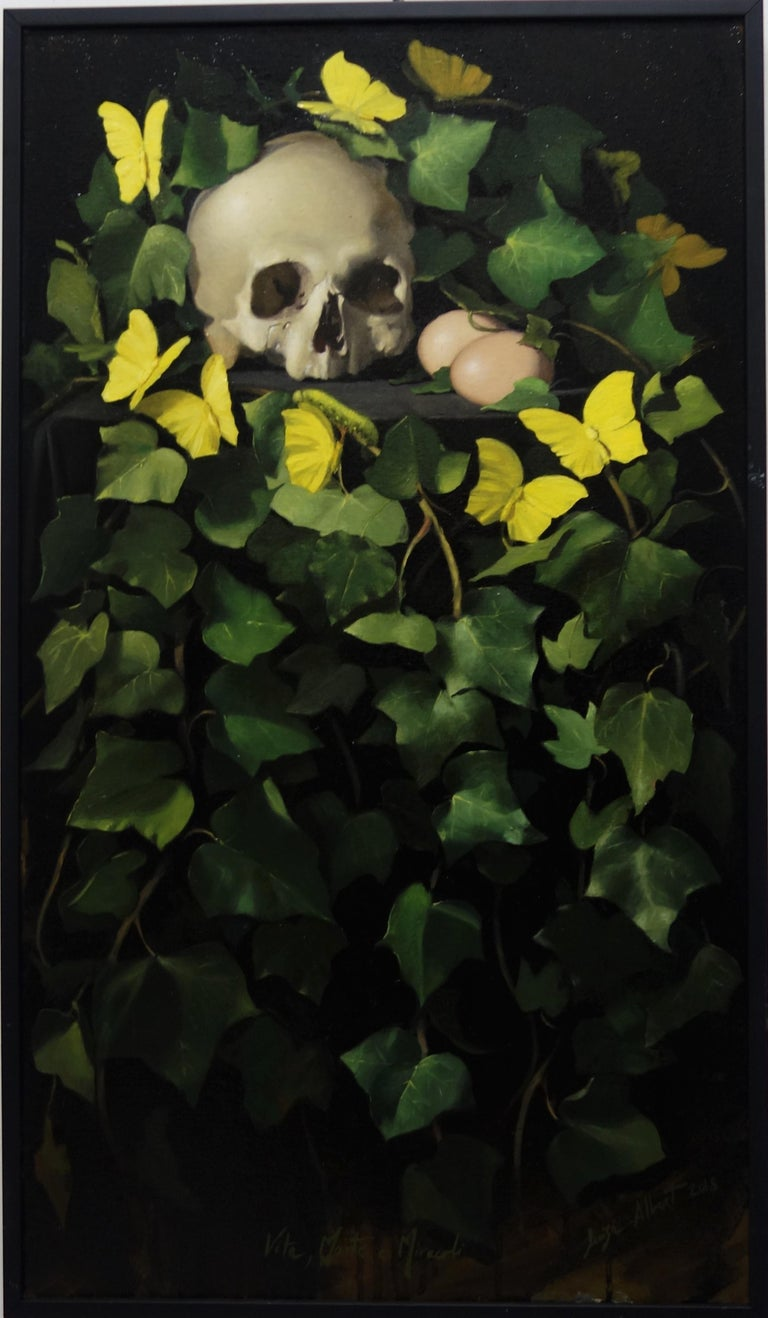 """Luisa Albert Still-Life Painting - """"Life, death and miracles"""" Skull, butterflies, caterpillars, insects, ivy"""