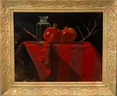 """Red still life with pomegranates"" Oil cm. 29 x 23"