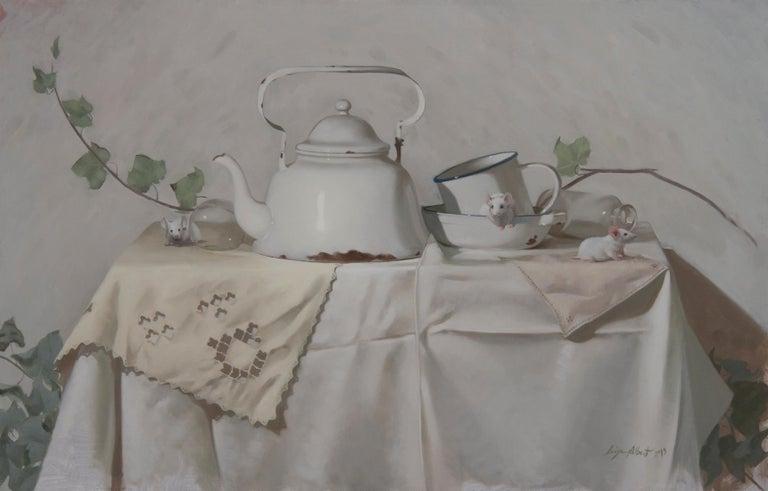 "Luisa Albert Animal Painting - ""Three blind mice""White  Oil cm. 60 x 95 2019"