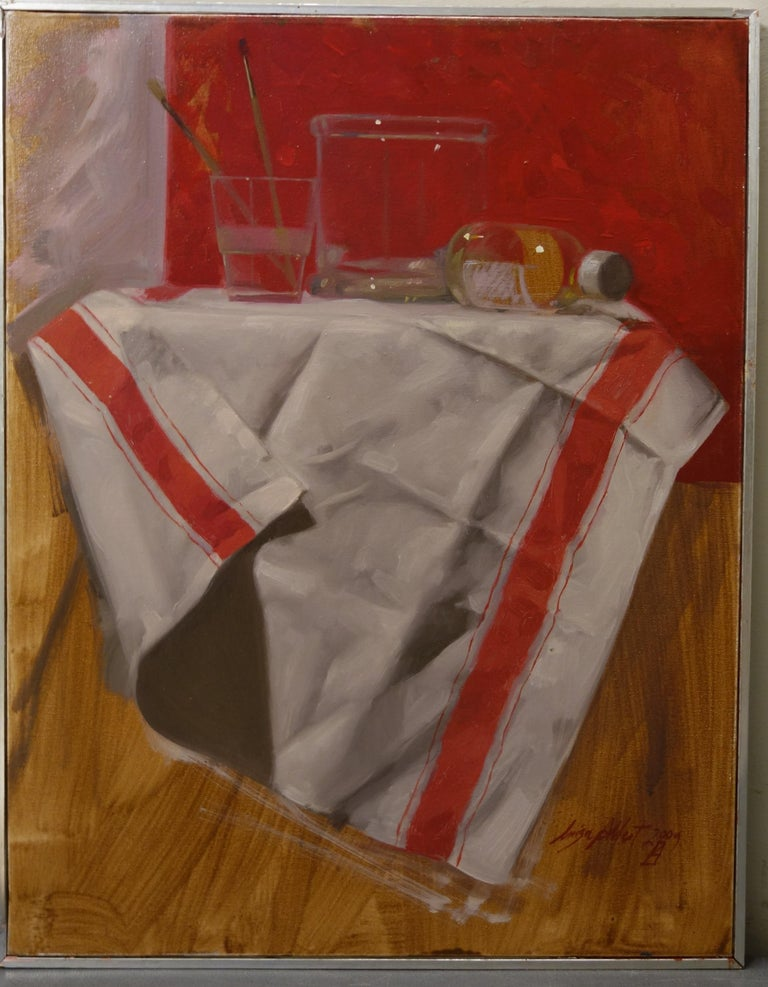 "Luisa Albert Still-Life Painting - ""Transparencies"" Red, White, Still life, Glasses, Kitchen cm. 37 x 47"