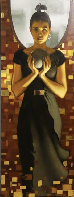 """Triumph of honesty""  Young girl, Gold, symbolism Oil cm. 50 x 130"