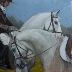 """""""White horses"""" Oil cm. 100 x 100"""
