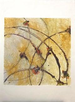 Coffee Time, Monotype on Paper, 20 x 20, Venezuelan Artist,  Geometric Abstract