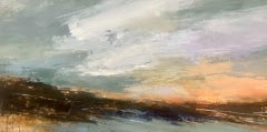 Luisa Holden, Peach Panorama, Semi Abstract Landscape Art, Original Painting
