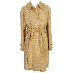 Luisa Spagnoli Yellow Cotton Blend Boucle Suit Jacket Dress 1990s Long Belted