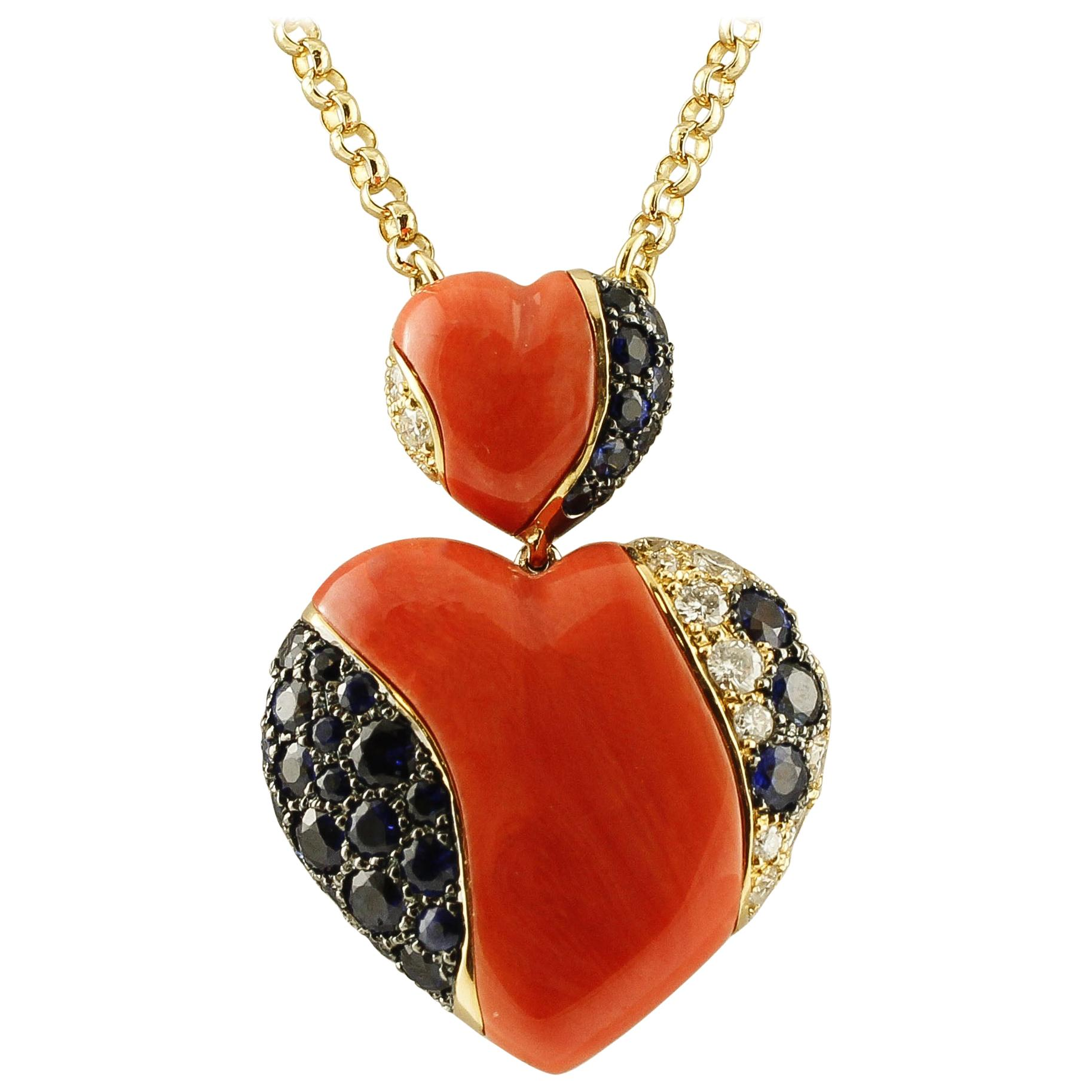 18K Gold Chain Necklace with Red Coral, Diamonds & Sapphire Heart Pendant