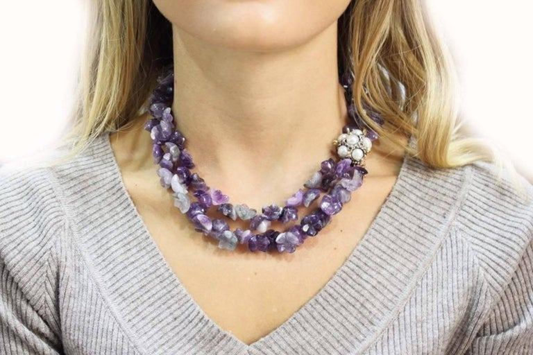 Women's or Men's Luise Amethyst Multistrnds and Pearls Rubies and Gold Clasp Necklace For Sale