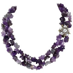 Luise Amethyst Multistrnds and Pearls Rubies and Gold Clasp Necklace