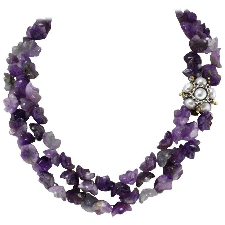 Luise Amethyst Multistrnds and Pearls Rubies and Gold Clasp Necklace For Sale