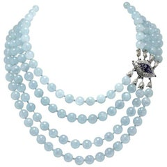 Aquamarine Beads Diamonds and Blue Sapphire Clasp White Gold Necklace