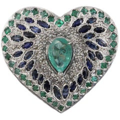 Luise Blue Sapphire, Emerald and Diamond Heart Ring