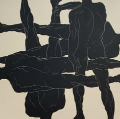 Autocracy - Young artist, Figurative print, Linocut, Black & white