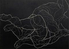 Clash - Young artist, Figurative print, Linocut, Black & white