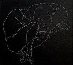 Concentration - Young artist, Figurative print, Linocut, Black & white