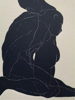 Incarnation - Young artist, Figurative print, Linocut, Black & white