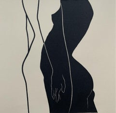 Joint space - Young artist, Figurative print, Linocut, Black & white