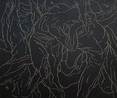 Revelry - Young artist, Figurative print, Linocut, Black & white