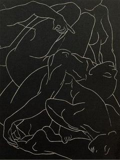 Sleeping Bacchae- Young artist, Figurative print, Linocut, Black & white