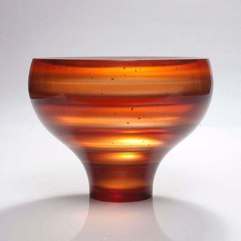 Cast Luka, a unique amber / orange glass art work and centrepiece by Paul Stopler For Sale