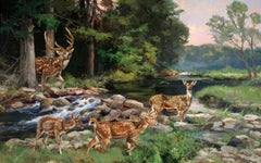 """""""GUADALUPE ROMANCE"""" WILDLIFE AXIS DEER FAMILY TEXAS RIVER"""