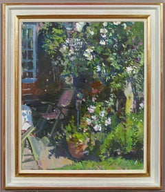 'Roses in the Garden' oil painting by British artist Luke Martineau