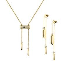 Luke Rose 14 Karat Gold Schwarz Diamant-Halskette und Ohrringe