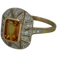 Luke Stockley 9 Carat Gold Citrine and Diamond Cluster Ring