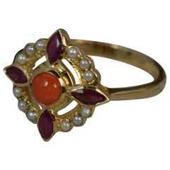 Luke Stockley 9 Carat Gold Coral Pearl Ruby Flower Cluster Ring