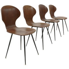 Lully Plywood Chair by Carlo Ratti for Industria Legni Curvati, Set of Four