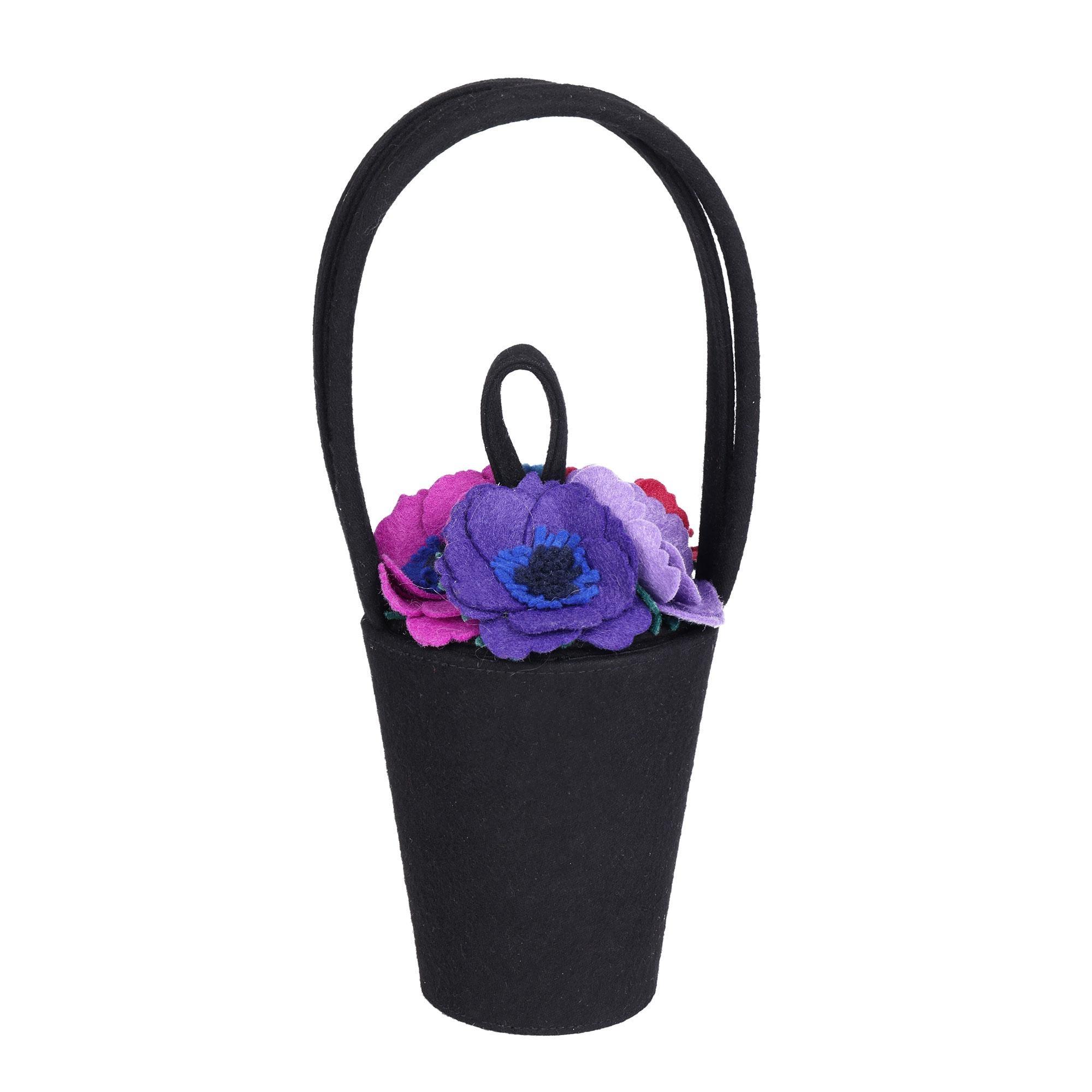 Lulu Guinness Black, Pink, Purple, Blue, Green & Red Felt Vintage Florist Bag