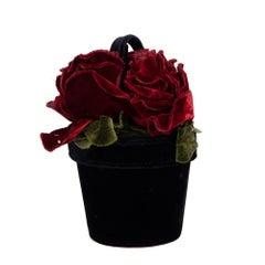 Lulu Guinness Black, Red & Green Velvet Vintage Florist Pot Bag