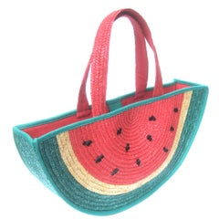 Lulu Guinness London Whimsical Watermelon Tote Handbag c 1990s